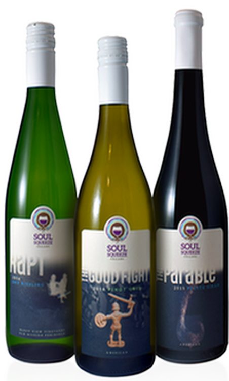 a trio of soul squeeze wine bottles